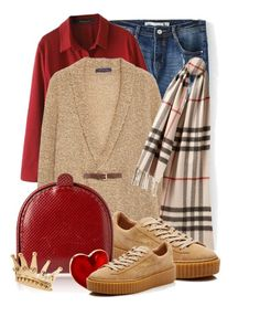"""""""cardigan and scarf"""" by queenrachietemplateaddict ❤ liked on Polyvore featuring Violeta by Mango, Burberry, Puma, Bottega Veneta and Alison Lou"""