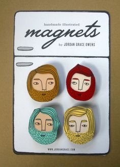 Bearded Boys Magnet Set