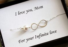 Sterling Silver Infinity Necklace with pearl, everyday, wedding, bridesmaid gifts, best friends, mothers, sisters on Etsy, $24.00