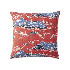 Skylake Toile Pillow Cover – Tomato Red | Serena & Lily