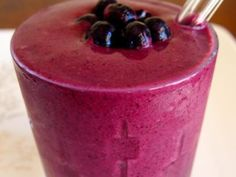 PB Smoothie...I use almond or soy milk, blueberries (or a mix of berries), peanut butter and plain greek yogurt. This is my new favorite smoothie next to the Avocado smoothie