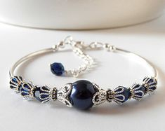 Navy Bridesmaid Bracelet Navy Blue Bridesmaid by WeddingsBoutique
