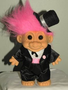 Russ Lucky 10 Inch WEDDING GROOM Troll Doll Figure (Black Tuxedo & Top Hat Pink Hair) by Russ Berrie, http://www.amazon.com/dp/B008SV3A8M/ref=cm_sw_r_pi_dp_zGvArb0GNTK15