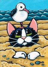 Original Cat ACEO, Animals, Beach, Seagull, Whimsical, SFA, Lisa Marie Robinson
