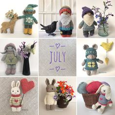 """Gudrun Dahle on Instagram: """"☀️July's knitty kids.☀️ Do you have a favourite? ☀️ For me it's a tie between  the """"old man"""" at top centre and the bunny at lower left.☀️…"""""""