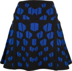 Black and vivid blue 'Flote' skirt from Diane Von Furstenberg featuring a high waist, a geometric print, a flared cut and an above the knee length.