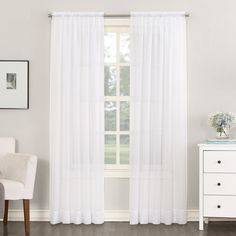 "Emily Sheer Voile Rod Pocket Curtain Panel White 59""x84"" - No. 918"