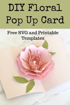 Pop Up Flower Cards, Pop Up Box Cards, Pop Up Flowers, Cricut Birthday Cards, Cricut Cards, Birthday Card Pop Up, Pop Up Card Templates, Card Templates Printable, Card Making Techniques
