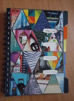 DIY magazine collage notebook cover