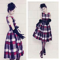 ドレス-ミニ・ミディアム スタイリッシュチェックリボンパーティーワンピースw339