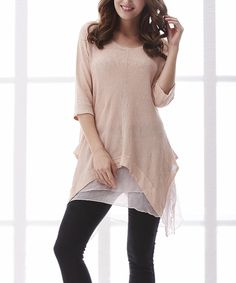 Take a look at this Simply Couture Pink Layered-Hem Linen Sidetail Tunic today!