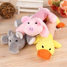 New Dog Toys Pet Puppy Chew Squeaker Squeaky Plush Sound Duck Pig Elephant Pets Toys 3 Designs Free Shipping #Affiliate