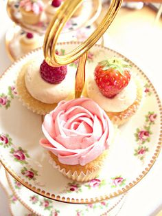 Strawberry Cupcakes-Vintage Tea Party