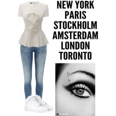 A fashion look from November 2014 featuring Alexander McQueen blouses, River Island jeans and NIKE sneakers. Browse and shop related looks.