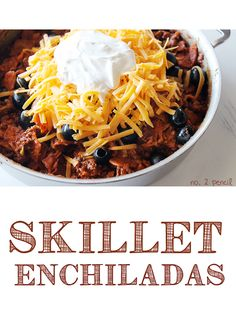 Skillet Enchiladas!  A super quick and delicious meal that you can have on the table in about 20 minutes. This recipe is one of our go-to recipes and works with ground beef, ground turkey and even leftover shredded chicken or pork. It has all the flavor of enchiladas, but cuts out the lengthy prep! Skillet Enchiladas are the perfect meal for busy weeknights.