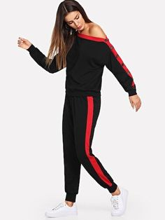 Shop Asymmetrical Neck Button Side Top and Sweatpants Set online. SHEIN offers Asymmetrical Neck Button Side Top and Sweatpants Set & more to fit your fashionable needs. Sweat Shirt, Fashion News, Fashion Outfits, Woman Fashion, Fashion Fashion, Vintage Fashion, Two Piece Outfit, Clothing Co, Outfit Sets