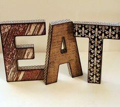 EAT Letters Decoupage Kitchen Decor by nikathome