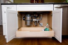 Install a pull-out drawer under the sink so you don't have to reach all the way in and around plumbing to get what you need.