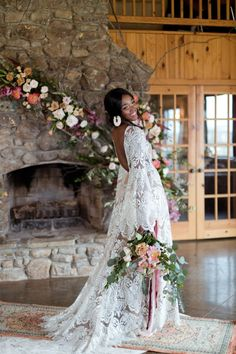 Boho Styled Cabin Wedding at Carolina Country Weddings This boho styled elopement set in a cabin a Carolina Country Wedding Venue is a romantic textured dream! Planning an elo. Vintage Country Weddings, Country Wedding Dresses, Cabin Wedding, Boho Wedding, 1920s Wedding, Tree Wedding, Wedding Hair, Fall Wedding, Slit Wedding Dress