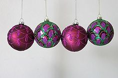Set of 4 Gisela Graham Peacock themed glass Christmas Decorations