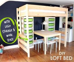 A loft bed with a desk and LEGO storage