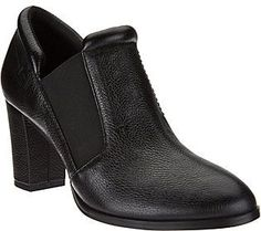 H by Halston Leather Ankle Boot with Block Heel - Kandice
