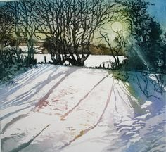 Moonlight shadows Etching with aquatint by SallyWinterEtchings, $140.00