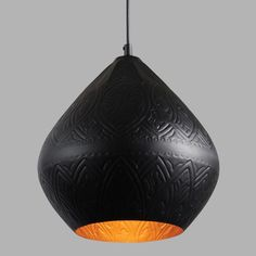 Handcrafted by Indian artisans, our exclusive pendant lamp features a bold teardrop shape with a matte black exterior and a matte gold interior. An intricate design is embossed across its entire surface, drawing the eye with its subtle texture. Pendant Chandelier, Hanging Pendants, Pendant Lighting, Lighting Sale, Room Lights, Hanging Lights, Gold Home Accessories, Black Gold Jewelry, Gold Interior
