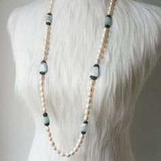 Pearl and Aquamarine Necklace Long and Multi by BerkBerkshire