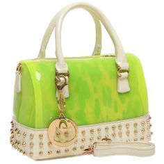 MENTHA Neon Green 2 in 1 Studded Gothic Doctor Style Handbag