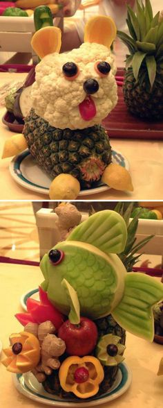 2 cute fruit platters - wish I were this creative!