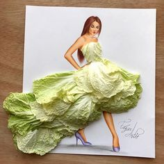 Dress made of Chinese cabbage by Edgar ARtis Dress Design Sketches, Fashion Design Drawings, Fashion Sketches, Arte Fashion, 3d Fashion, Unique Drawings, Dress Drawing, Deco Floral, Creative Artwork
