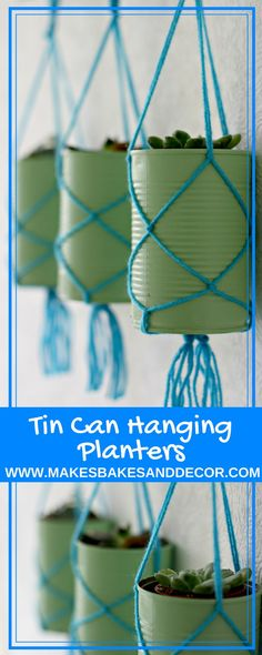 TIN CAN hanging planters are a fun DIY to upcycle your tin cans. A great tin can craft for you to use around the home. Upcycling Projekt TIN CAN hanging planters are a fun DIY to upcycle your tin cans. A great tin can craft for you to use around the home. Diy Crafts To Do At Home, Tin Can Crafts, Fun Diy Crafts, Diy Craft Projects, Decor Crafts, Sewing Projects, Rock Crafts, Homemade Crafts, Diy Projects Recycled