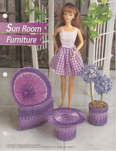 Fashion Doll Sun Room Furniture Plastic by needlecraftsupershop, $2.95