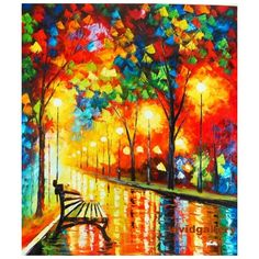 """Oil Painting 20""""x24"""" Cityscape Night Rain Street Lamp Park Bench M09... ❤ liked on Polyvore"""