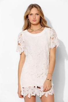 Urban outfitters Joa Daisy Lace Shift Dress in White Cute Dresses, Vintage Dresses, Summer Dresses, Shift Dresses, White Gowns, White Dress, Smock Dress, Lace Dress, Urban Dresses