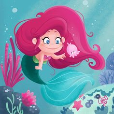 Little Mermaid & the Jellyfish art by me ViolaJelly #illustration #childrenillustration #violajelly #littlemermaid