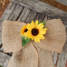 Burlap and Sunflower Bows Wreaths Pew Bows Burlap Wedding Tulle Pew Bows, Burlap Ribbon, Wreath Bows, Primitive Wedding, Rustic Wedding, Wedding Ideas, Wedding Reception, Wedding Venues, Wedding Limo