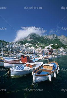 The bustling harbour port of Capri, Italy