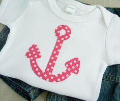 Newborn girls clothing // Baby girl clothes // Size 0-3 months // Nautical Anchor Bodysuit. $13.00, via Etsy.