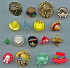 Lot of Hat headgear buttons vintage and a few modern buttons