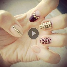 gold stud nails so bling!