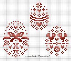 Easter egg charts perfect for cross stitch or filet crochet.