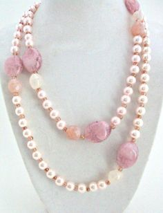 Long Light Pink Beaded Pearl Necklace, Single Strand Pearl Necklaces