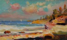 a small painting: a sunny afternoon on the beach 6x10 inches, a plein air study by Ying