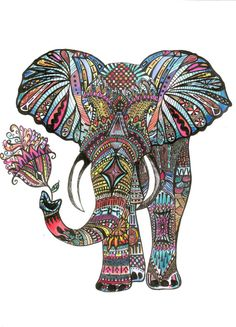 Elephant Ink Drawing Print The Ornate Elephant by thewhimsicalwild