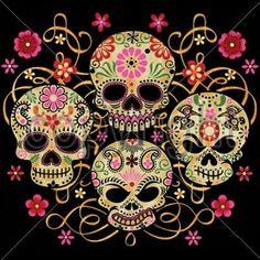 Cool Camiseta cuatro calaveras de azúcar Día De Los Muertos Calavera Huesos Zombie Flor Rosa | Ropa, calzado y accesorios, Ropa para hombre, Camisetas | eBay!