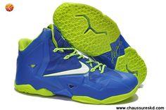 Nike Lebron XI (11) Bleu Volt Lebron James Shoes 2013 Pas cher