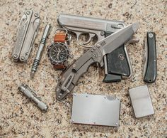 Leatherman Charge Hinderer Stainless Investigator Marathon GSAR on Leather Zulu Maratec AAA Stainless Walther PPK/S .380 Hinderer XM-18 ...