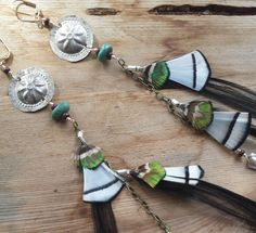Peacock Tribal Black & White Feather Earrings--embossed metal, silver, chain, turquoise, custom by RuthRhiannonDesigns on Etsy